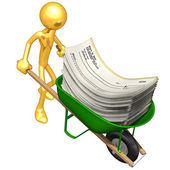 Wheelbarrow Full Of Blank Checks — Stock Photo