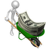 Wheelbarrow Full Of Money — Stock Photo