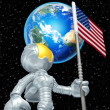 Mini Astronaut With Flag — Lizenzfreies Foto