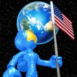 Mini Astronaut With Flag - Stock Photo
