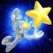 Mini Astronaut Reaching For A Star — Stock Photo