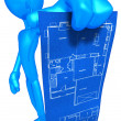 Stock Photo: Holding Home Construction Blueprint