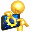 Gold Guy With Touch Screen Gear - Stock Photo