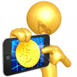 Gold Guy With Touch Screen Coin — Stock Photo