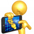 Stock Photo: Gold Guy With Touch Screen Idea