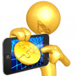 Gold Guy With Touch Screen Coin - Lizenzfreies Foto