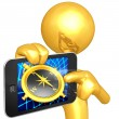 Gold Guy With Touch Screen Compass Navigation — Stock Photo #12399779