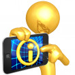 Gold Guy With Touch Screen Information — Stock Photo