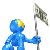 Mini Astronaut With Money Flag — Stock Photo