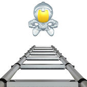 Mini Astronaut With Ladder — Stock Photo