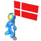 Mini Astronaut With Flag — Stock Photo