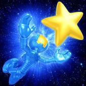 Mini Astronaut Reaching For A Star — Stock Photo