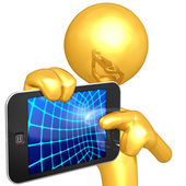 Gold Guy With Touch Screen Device — Stock Photo