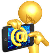 Gold Guy With Touch Screen Email — Stock Photo