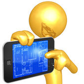 Touch Screen Home Construction Blueprint — Foto Stock