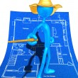 Wizard On Home Construction Blueprints — Stock Photo