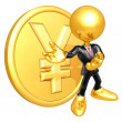Mini O.G. Businessman With Gold Coin — ストック写真