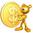 Gold guy with gold — Stock Photo