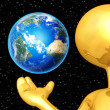 Stock Photo: 3D Character Holding Earth
