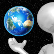 3D Character Holding The Earth — Stock Photo