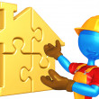 Gold home puzzle concept — Stock Photo