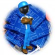 Construction Worker With Blueprints — Stok Fotoğraf #12408954