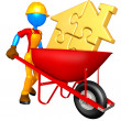 Gold Puzzle Home In Wheelbarrow — Stock Photo