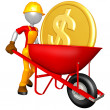 Gold Coin In Wheelbarrow — Stock Photo
