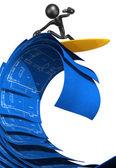 Surfen op huisbouw blauwdrukken — Stockfoto