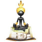 Djinn On Money Magic Carpet — Stock Photo