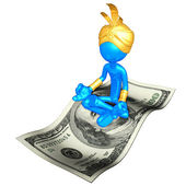 Djinn On Money Magic Carpet — Stock Photo