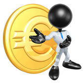 Mini O.G. Businessman With Gold Coin — Stock Photo
