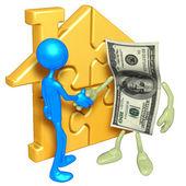 Zlato domů puzzle a peníze — Stock fotografie