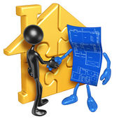 Gold Home Puzzle And Blueprint — Stock Photo