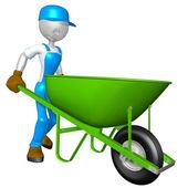 Worker With Wheelbarrow — Stock Photo