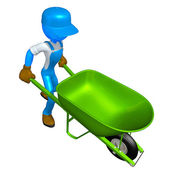 Worker With Wheelbarrow — Stock Photo