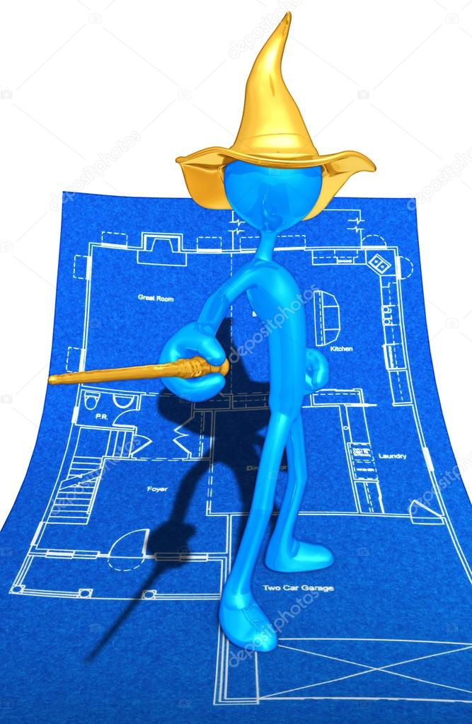 Wizard On Home Construction Blueprints — Stock Photo #12406900