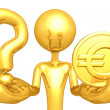 Question And Gold Coin — Stock Photo #12410204