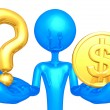 Question And Gold Coin — Stock Photo