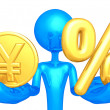 Gold Coin And Percentage  — Stock Photo