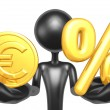 Gold Coin And Percentage - Stockfoto