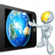 Astronaut with touch screen — Stock Photo #12410852