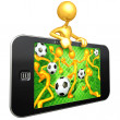 Football match on touch screen — Stock Photo