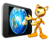 Animal suit guy with touch screen — Stock Photo