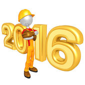 Happy new year golden 2016 — Foto Stock