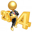 Stock Photo: New Year 2014 Gold