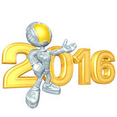 Happy new year golden 2016 — Stok fotoğraf