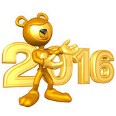 Happy new year golden 2016 — Stock Photo