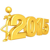 Happy new year golden 2015 — Stok fotoğraf