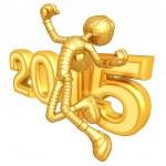 Happy new year golden robot 2015 — Stock Photo